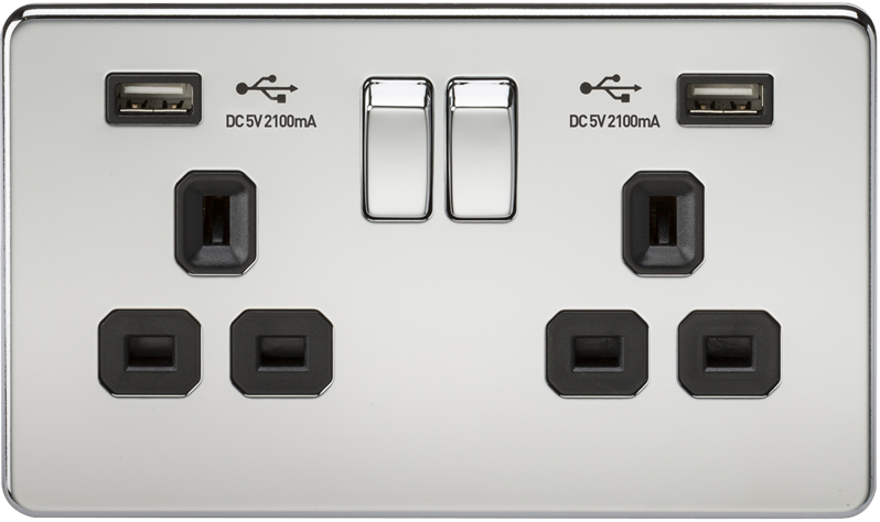 KnightsBridge 2 Gang USB Socket