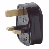 13A Black Plastic Electrical Safety UK 3 Pin Plug Top by Zexum