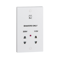 KnightsBridge White Dual Voltage 115/230V Shaver Socket With Neon