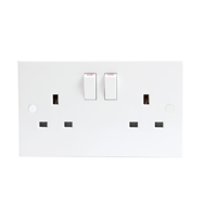 13A White Slimline 2G Twin 230V UK 3 Switched Electric Wall Socket by KnightsBridge