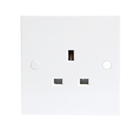 13A White 1G Single 230V UK 3 Pin Unswitched Electric Wall Socket by KnightsBridge