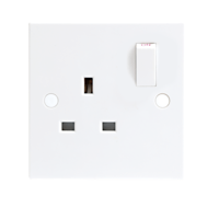 13A White 1G Single 230V UK 3 Pin Switched Electric Wall Socket by KnightsBridge