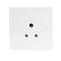 5A White Round Pin 1G Single 230V Unswitched Electric Wall Socket by KnightsBridge
