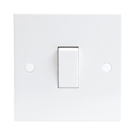 KnightsBridge 10A White 1G 2 Way 230V Electric Wall Plate Switch
