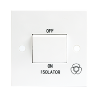 10A White 1G 3 Pole 230V Electric Fan Isolator Switch by KnightsBridge