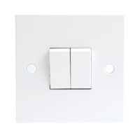 10A White 2G Twin 2 Way 230V Electric Wall Plate Switch by KnightsBridge