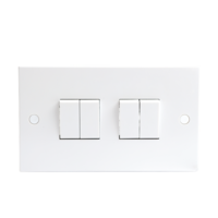 10A White 4G 2 Way 230V Electric Wall Plate Switch by KnightsBridge