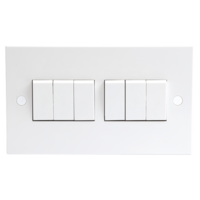 KnightsBridge 10A White 6G 2 Way 230V Electric Wall Plate Switch