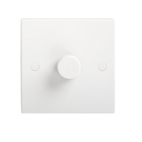 KnightsBridge 40-400W White 1G 2 Way 230V Electric Dimmer Switch Wall Plate