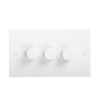 KnightsBridge 40-400W White 3G 2 Way 230V Electric Dimmer Switch Wall Plate