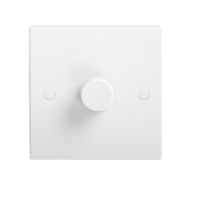 KnightsBridge 1000W White 1G 2 Way 230V Electric Dimmer Switch Wall Plate