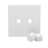KnightsBridge 2G White Dimmer Plate Electric Wall Switch with 2 Dimmer Knobs