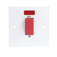 KnightsBridge 45A White 1G Double Pole 230V Electric Cooker Wall Plate Switch With Neon