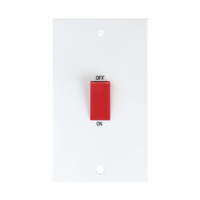 KnightsBridge 45A White 2G Double Pole 230V Electric Cooker Wall Plate Switch