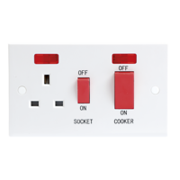 KnightsBridge 45A White 2G Double Pole 230V Electric Wall Plate Cooker Switch and 13A Socket with Neons