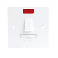 13A White Switched Connection Unit with Neon Fused & Flex Spur Electric Wall Plate by KnightsBridge