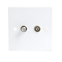 White Twin Coaxial and Satellite TV Outlet Isolated Single Wall Plate by KnightsBridge