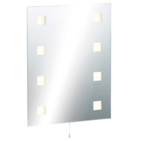 KnightsBridge Illuminated Decorative Bathroom Wall Mirror IP44 Rated with Dual Shaver Socket & Demister