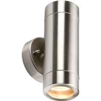 KnightsBridge Fixed IP65 Lightweight Stainless Steel Indoor Outdoor Double Wall Light
