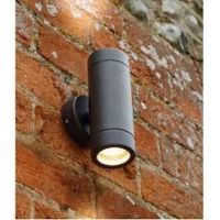 KnightsBridge Fixed IP65 Aluminium Black Indoor Outdoor Double Wall Light