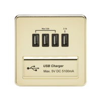 KnightsBridge 1G Screwless Polished Brass Quad USB 5V Charger Outlet