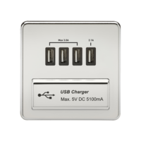 KnightsBridge 1G Screwless Polished Chrome Quad USB 5V Charger Outlet