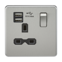 1G 13A Screwless Brushed Chrome 1G Switched Socket with Dual 5V USB Charger Ports by KnightsBridge