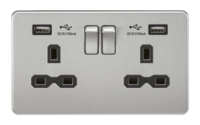 2G 13A Screwless Brushed Chrome 2G Switched Socket with Dual 5V USB Charger Ports by KnightsBridge