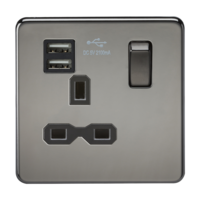 KnightsBridge 1G 13A Screwless Black Nickel 1G Switched Socket with Dual 5V USB Charger Ports