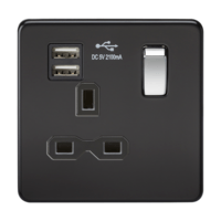 1G 13A Screwless Matt Black 1G Switched Socket with Dual 5V USB Charger Ports by KnightsBridge