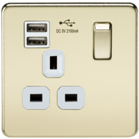 KnightsBridge 1G 13A Screwless Polished Brass 1G Switched Socket with Dual 5V USB Charger Ports (Option: White Insert)