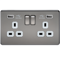 KnightsBridge 2G 13A Screwless Black Nickel 2G Switched Socket with Dual 5V USB Charger Ports