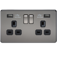 2G 13A Screwless Black Nickel 2G Switched Socket with Dual 5V USB Charger Ports by KnightsBridge