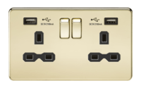 KnightsBridge 2G 13A Screwless Polished Brass 2G Switched Socket with Dual 5V USB Charger Ports