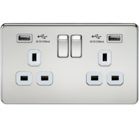 KnightsBridge 2G 13A Screwless Polished Chrome 2G Switched Socket with Dual 5V USB Charger Ports (Option: White Insert)