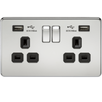 KnightsBridge 2G 13A Screwless Polished Chrome 2G Switched Socket with Dual 5V USB Charger Ports (Option: Black Insert)