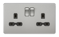 KnightsBridge 2G DP 13A Screwless Brushed Chrome 230V UK 3 Pin Switched Electric Wall Socket