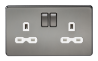 KnightsBridge 2G DP 13A Screwless Black Nickel 230V UK 3 Pin Switched Electric Wall Socket (Option: White Insert)