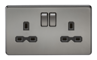 KnightsBridge 2G DP 13A Screwless Black Nickel 230V UK 3 Pin Switched Electric Wall Socket