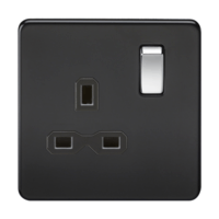 1G DP 13A Screwless Matt Black 230V UK 3 Pin Switched Electrical Wall Socket by KnightsBridge