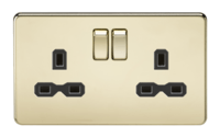 2G DP 13A Screwless Polished Brass 230V UK 3 Pin Switched Electric Wall Socket by KnightsBridge
