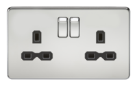 KnightsBridge 2G DP 13A Screwless Polished Chrome 230V UK 3 Pin Switched Electric Wall Socket