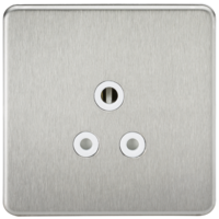 KnightsBridge 1G 5A Screwless Brushed Chrome Round Pin 230V Unswitched Electrical Wall Socket (Option: White Insert)