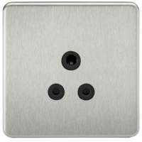 KnightsBridge 1G 5A Screwless Brushed Chrome Round Pin 230V Unswitched Electrical Wall Socket