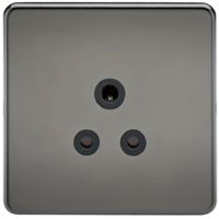 KnightsBridge 1G 5A Screwless Black Nickel Round Pin 230V Unswitched Electrical Wall Socket