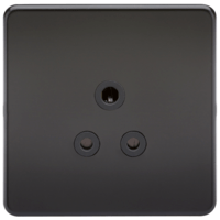 1G 5A Screwless Matt Black Round Pin 230V Unswitched Electrical Wall Socket by KnightsBridge
