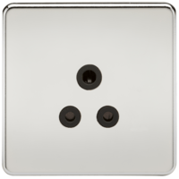 1G 5A Screwless Polished Chrome Round Pin 230V Unswitched Electrical Wall Socket by KnightsBridge