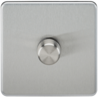 KnightsBridge 60-400W 1G 2 Way Screwless Brushed Chrome 230V Electric Dimmer Switch