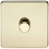 KnightsBridge 60-400W 1G 2 Way 230V Screwless Polished Brass Electric Dimmer Switch