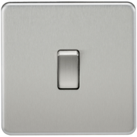 10A 1G 2 Way 230V Screwless Brushed Chrome Electric Wall Plate Switch by KnightsBridge